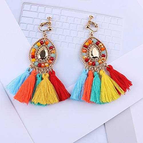 weichuang Tassel Clip On Earrings Without Piercing Bohemia Fashion Jewelry Trendy Cotton Rope Fringe Ear Clip for Women Party (Metal Color : CAI)