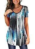 BeadChica Women's Tunic Tops To Wear With Leggings Short Sleeve Shirts Botton Up Casual Ruched Blouses Clothing Contrast-XL