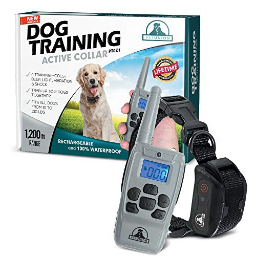 Pet Union PT0Z1 Premium Dog Training Shock Collar, Fully Waterproof, 1200ft Range (Light Gray)
