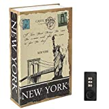 Diversion Book Safe with Combination Lock, Decaller Safe Secret Hidden Metal Lock Box, 9 1/2' x 6' x 1 1/3', New York