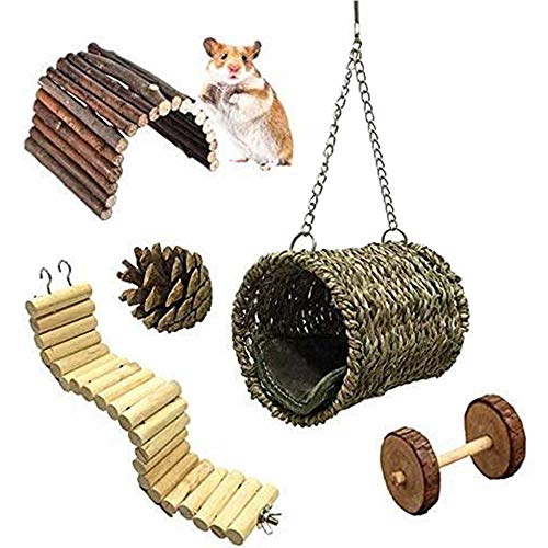 ZMS Hamster Chew Toys Wooden Little Pet Toys Cage Toys Hammock Nest Swing Bridge Ladder Stairs Climbing Toys for Hamster Squirrel Pig Chinchilla Parrot (5 Pack)