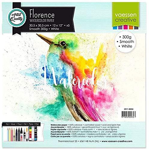 Vaessen Creative 2911-8004 Florence Aquarellpapier, 30,5 x 30,5 cm, Weiß, aus 300 g/m² Glattem Papier, 5 Blatt für Aquarellmalerei, Handlettering und Brush Lettering