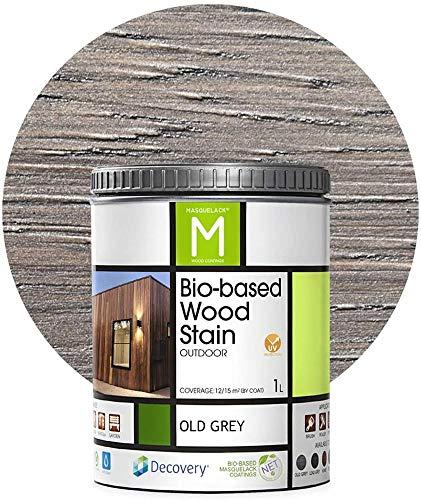 Barniz Madera Exterior | Bio-based Wood Stain | 1L | para todo tipo de madera | Lasur madera exterior | color Old Grey | Flexible y transpirable, resistente al agua y al moho