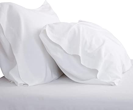 Bedsure Cooling Bamboo Pillowcases Set of 2 100% Viscose from Bamboo Breathable Silky Ultra Soft Organic Natural Moisture Wicking (White, Queen Size 20x26) Bedding Gift