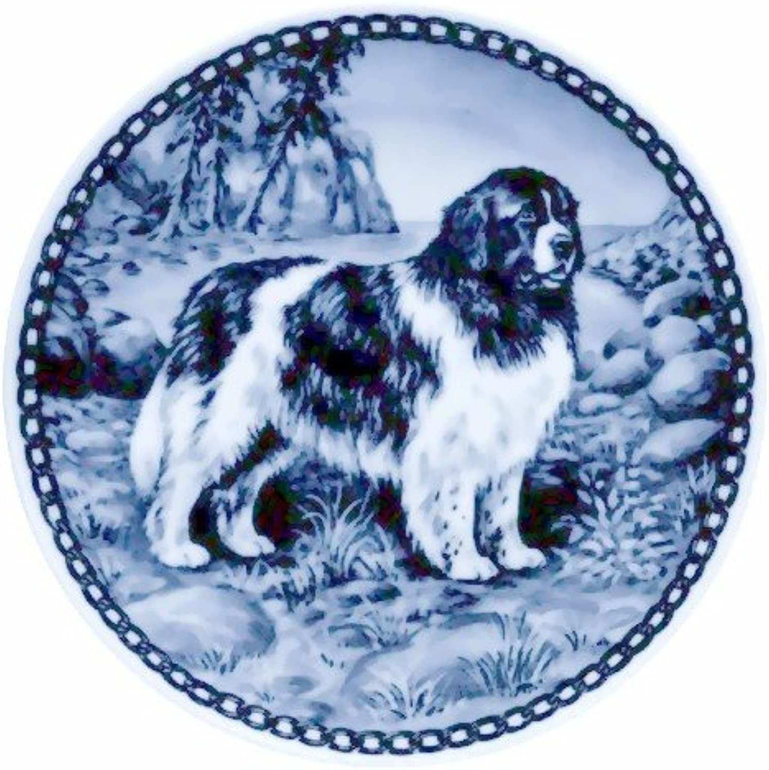Lekven Newfoundland  Landseer Design Dog Plate 19.5 cm  7.61 inches Made in Denmark NEW with certificate of origin PLATE  7171