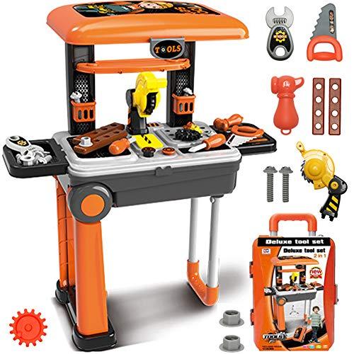 CORPER TOYS おままごと 工具セット ワークベンチ スーツケース式 工具おもちゃ 大工さん ミニワークセンター 組み立て ツール作業台 男の子