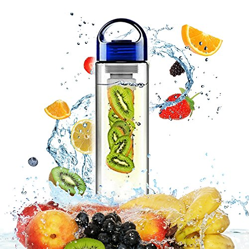 24 Ounce KC Life Essentials KC-01 Sport (Water Bottle with Fruit Infuser) Brings Flavor to Your Day. Natural Vitamin Enriched Infusion Supports Healthy Lifestyle. Color: Clear With Blue Top