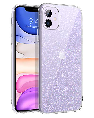 BENTOBEN iPhone 11 Hülle Handyhülle Glitzer Transparent Anti Gelb Stoßfest Klar iPhone 11 Hülle Silikon Bumper Cover Ultra Slim dünn Hülle für iPhone 11 Crystal Clear