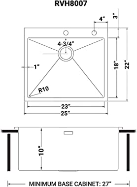 Ruvati 25-inch Drop-in Tight Radius Topmount 16 Gauge Stainless Steel Kitchen Sink Single Bowl - RVH8007