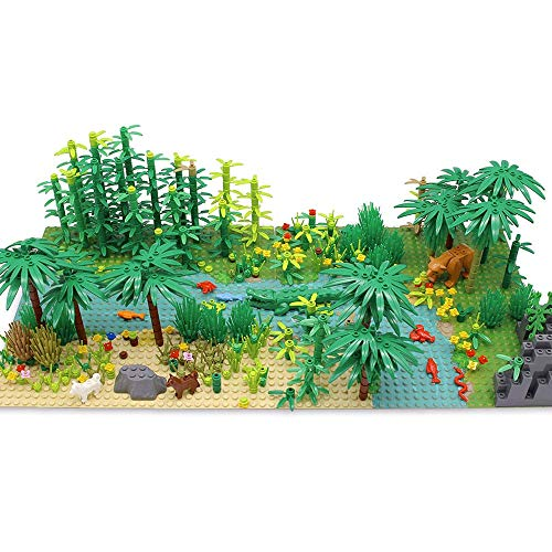 Modbrix Dschungel Set: Bausteine Bäume, Bausteine Tiere, Bedruckte Grundplatten, 582 Teile