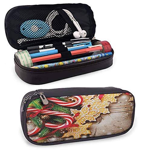 Weihnachten Pen Case Kosmetik Make-up Tasche Kekse und Zuckerstangen auf Holzbrett Winter Tisch Spread Season s Art Farbstiften Beutel
