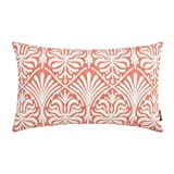 HWY 50 Decorative Lumbar Throw Pillow Cover Coral Pink Embroidered Rectangle Pillow Cover Cushion Cases for Couch Sofa Living Room 12 x 20 inch Accent Small Floral Decor 1 Piece
