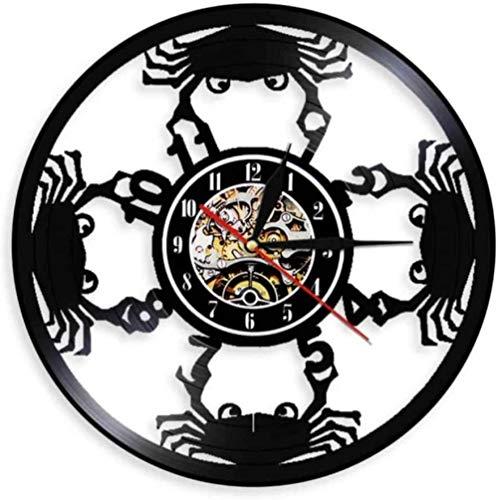hxjie Reloj de Pared con Silueta de mariscos, Reloj de Vinilo de Playa con Animales Marinos, decoración de Cocina