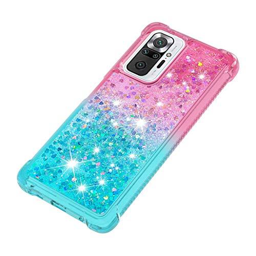 GOGME Funda para Xiaomi Redmi Note 10 Pro Estuche, Degradado Color Glitter Liquida Cristal Ultradelgado Suave Silicona TPU Bumper Carcasa [Cuatro Esquinas y Protección de Cámara], Rosado/Azul