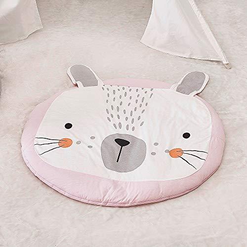 Wonder Space Kids Round Crawling Mat, Cute Animals Baby Adventure Carpet, 100% Cotton Children's Floor Play Game Mat, Best Play Mat for Kids Room Decorations & Teepee Tent (Rabbit)