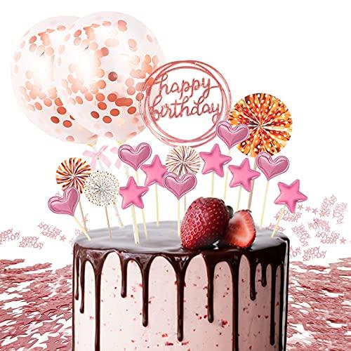 Tortendeko Geburtstag,Tortenstecker Rosa,Happy Birthday Kuchendeko,Cake Topper Happy Birthday,Kuchen Topper,Geburtstag Torte Topper,Kuchen Deko Torte Kinder,Tortenaufsatz,Kuchendekoration Geburtstag