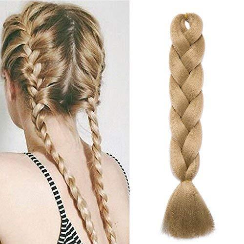 SEGO Extension Treccine Lunghe Capelli Finti per Trecce Fibre Braids Extension Hair 60cm 100g - Biondo Cenere
