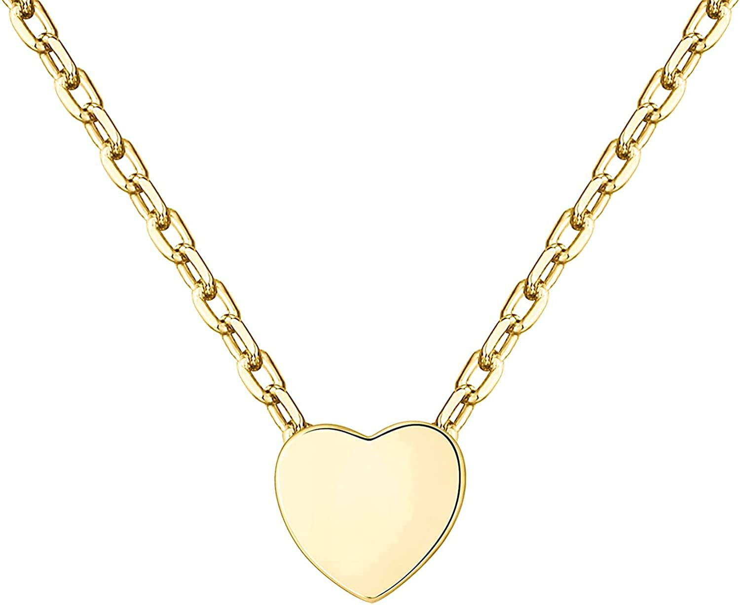 PAVOI 14K Gold Plated Tiny Heart Necklace | Dainty Necklace for Women | Personalized Letter Heart Choker