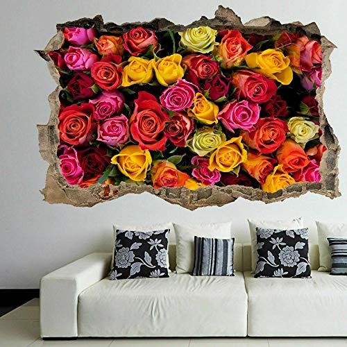 Pegatinas de pared Pegatinas de arte de pared decorativas con flores de rosas coloridas, calcomanía mural para decoración del hogar, papel tapiz de póster E- 70×100cm