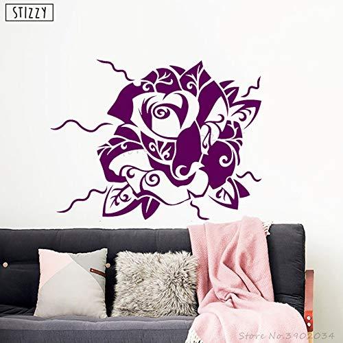 Tianpengyuanshuai Muurstickers mode rose bloem vinyl muurstickers verwijderbaar ontwerp lijm slaapkamer decoratie