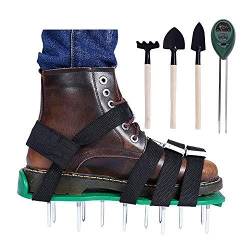 Aireador Cesped, Zapatos de Aireador de Césped, Escarificador de Cesped, 4 Correas Ajustables, Aireador de Cesped Zapatos con Púas Resistentes para Airear su Césped, Tamaño Universal,Green