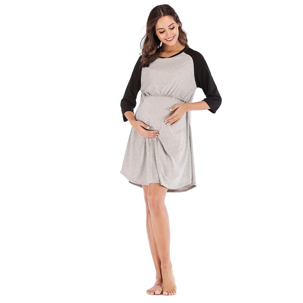 Vestido De Maternidad Para Mujeres Hospital 3 En 1 Parto Trabajo De Maternidad Enfermería Camisón Camisa De Lactancia Plisada Costuras De Manga Raglán Camisa De Dormir Ropa De Dormir,Negro,M: Amazon.es: Hogar