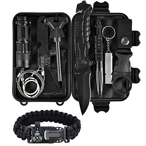 Kit de supervivencia 11 en 1, herramientas de supervivencia al aire libre con alicates de linterna de sílex, sierra de alambre, equipo de supervivencia para senderismo de campamento de aventura