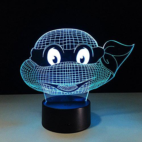 Changement de lampe de nuit de tortue 3D Touch Nightlight Kids Teenage Mutant Ninja Turtles Year Gift for Kids