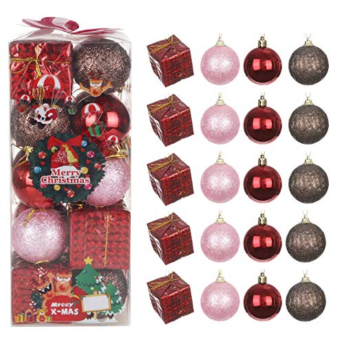 Janly Clearance Sale 20Pcs Christmas Balls Ornaments for Xmas Christmas Tree - 4 Style Shatterproof, Home Decor for Xmas 2020 Decoration (A)