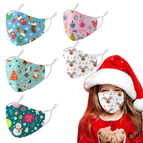 Studio 21 Graphix Cute Christmas Holiday Face Covering for Kids Boys Girls, Fashion Santa Claus Printed Breathable Children Mouth Cloth Masks with Adjustable Ear Loops (Christmas/A)