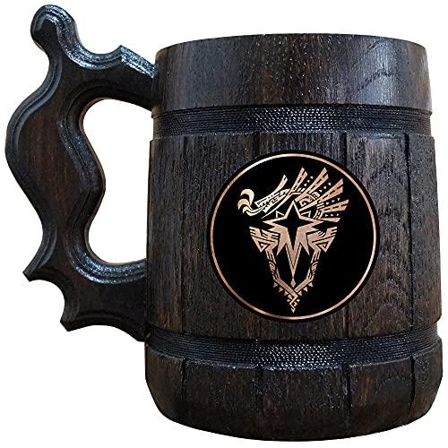 Monster Hunter World Iceborne Beer Mug, MHW Beer Stein, Gamer Gift, Monster Hunter Wooden Tankard, Geek Gift
