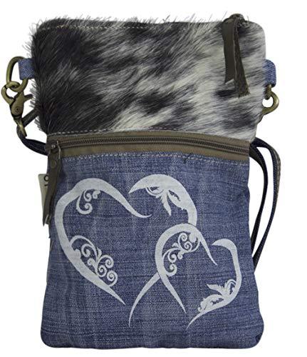 Domelo Dirndl Tasche Umhängetasche Oktoberfest Damen Accessories Blaue Trachtentasche mit Hirsch Kleine Geschenke für Teenager Mädchen Crossbody Bag Vintage Retro Handtasche aus Canvas, Jeans & Fell