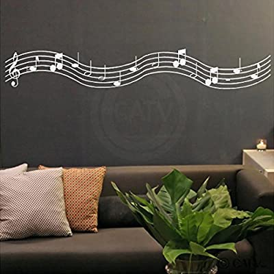 Music Scale with Notes Vinyl Lettering Wall Decal Sticker