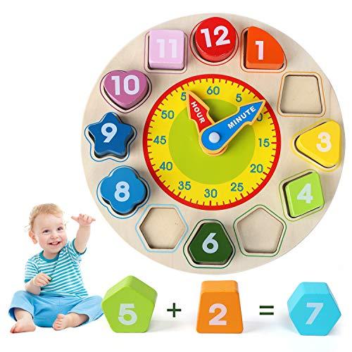 LEADSTAR Reloj de Madera Juguete, 3 in 1 Madera Educativo con Forma, Colores, Números y Aprender la Hora para Niños Niñas, Grandes Juguetes Montessori Educativos de Clasificación Reloj de Rompecabezas