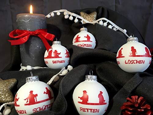 Roter Hahn 112 Hochwertige Feuerwehr Christbaumkugeln aus Glas Weihnachtskugeln Weihnachtsbaumanhänger Weiss 5er