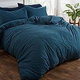 Brentfords - Set di biancheria da letto in lino lavato, con federa per cuscino, in morbida microfibra spazzolata, non stirare, colore: blu ottano/blu