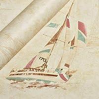 壁紙、マリンヨット不織布壁紙ブリティッシュセーラースタイル漫画少年部屋壁紙(色:水色)