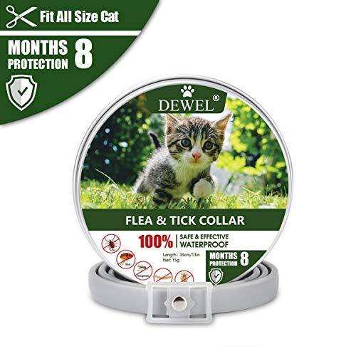 DEWEL 33cm Zecken Halsband für Katze, Floh Zecken Kragen Floh-und Zecken Prävention Halsbänder, V...