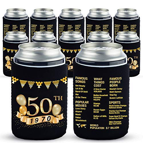 Yangmics 50th Birthday Can Cooler Sleeves Pack of 12-50th Anniversary Decorations- 1970 Sign - 50th Birthday Party Supplies - Black and Gold Fiftieth Birthday Cup Coolers