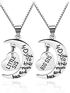omodofo Family Jewelry Gift Big Middle Sister Little Sis Set of 3 Sisters Pendant Necklace for Sisters