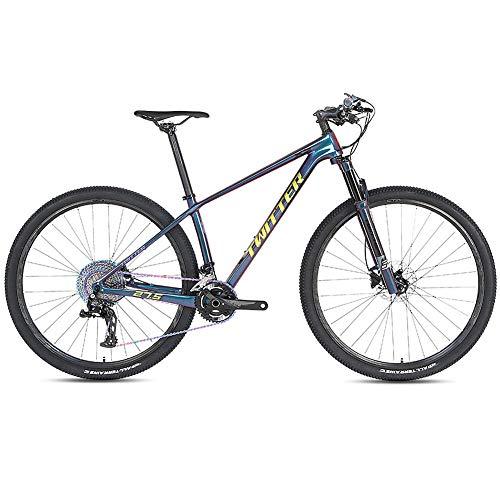 Mountain Bike in Fibra di Carbonio a 12 velocità, Mountain Bike per Tutti i Terreni con 27,5 Pollici con Forcella Ammortizzata/Doppio Freno a Disco, Bicicletta MTB a Sospensione,Giallo,27.5' /15'