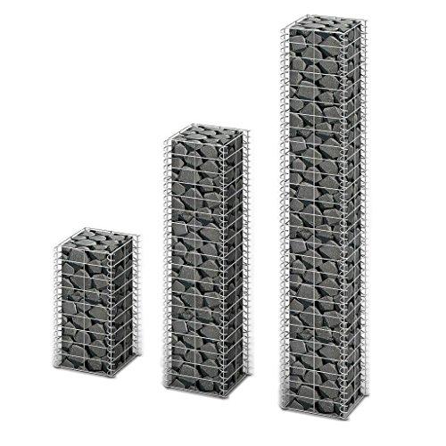 3X Steingabione/Steinkorb/Gabionen hochbeet, aus Verzinktem Stahl, Verschiedene Größen wählbar, Stützmauern Gartenzaun Gabionenwand Mauer Säule, 3,5 mm
