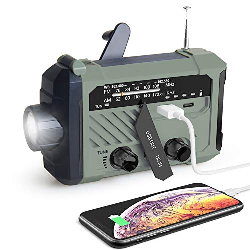 DM Emergency Radio, 2000mAh Cell Phone Charger, Portable Radio, Solar Hand Crank Radio, NOAA Weather Radio with AM/FM, LED Flashlight, Reading Lamp, SOS Alert for Household and Outdoor Emergency Use