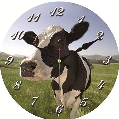 MINGKK Reloj de pared de madera Shabby Chic, reloj de pared, reloj de pared vintage, reloj de pared, decoración del hogar, reloj de pared, diseño de animales silencioso, 30 cm