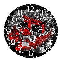 10インチの丸い壁時計、壁の装飾鯉魚サイレント非カチカチ時計、リビングルームホームオフィス用の電池式の読みやすい時計