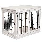 Pawhut Cage pour Chien Animaux Cage en Bois MDF Classe E1 3 Portes verrouillables Max. 30 Kg dim. 81L x 58l x 66H cm Blanc Noir