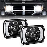 H6054 Led Headlights, AAIWA 5x7 7x6 60W Headlamp 2PCS Hi/Low Sealed Beam Rectangle Headlight Replacement for Jeep Wrangler YJ Cherokee XJ Trucks 4X4 Offroad 6054 H5054 H6054LL 69822 6052
