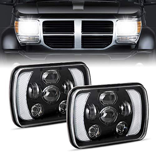 H6054 Led Headlights, AAIWA 5x7 7x6 60W Headlamp 2PCS Hi Low Sealed Beam Rectangle Headlight Replacement for Jeep Wrangler YJ Cherokee XJ Trucks 4X4 Offroad 6054 H5054 H6054LL 69822 6052