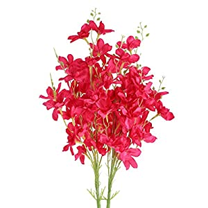 XYXCMOR 2 Pcs Artificial Flowers Faux Orchid Stems Fake Daffodils Flowers Silk Bouquet Flowers Arrangements for Indoor Wedding Home Table Centerpiece Party Decoration Red