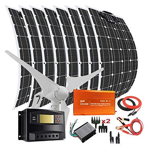 1200 W 12 V 24 V Wind Solar Power Kit mit 3000 W Inverter: 400 W Windturbine Generator mit Controller + 8 Stück 100 W Flexible Solarmodule + Solarregler + Kabel für Zuhause, Boot Off-Grid System